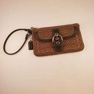 Authentic Coach wristlett Brown leather accents